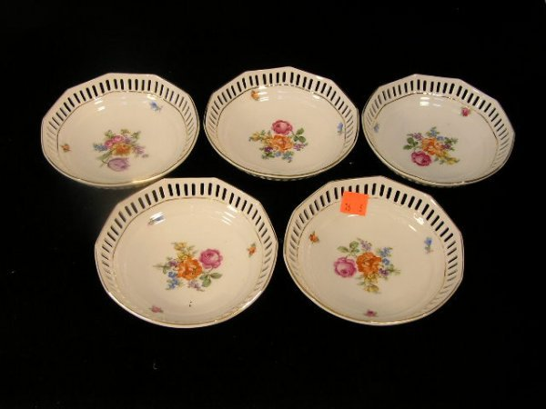 3016: ANTIQUE GERMAN OPEN WORK HANDPAINTED CANDYDISHES