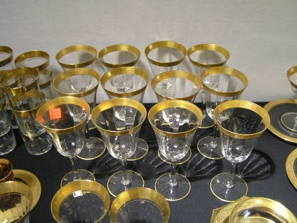 3157: TIFFIN LOTUS GOLD BANDED GLASSWARE - LOT OF 12 WI