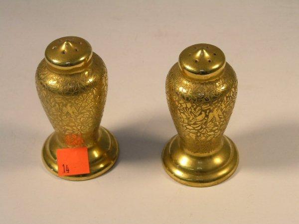 1014: PAIR VINTAGE GOLD LEAF SALT & PEPPER SHAKERS