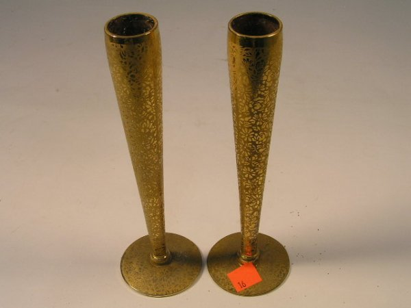 1016: PAIR OF GOLD GILT GLASS BUD VASES - LOTUS