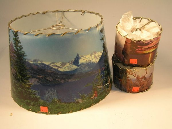 1024: 50'S  SCENIC LAMP SHADES LOT OF 3