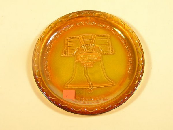 1002: CARNIVAL GLASS LIBERTY BELL PLATE