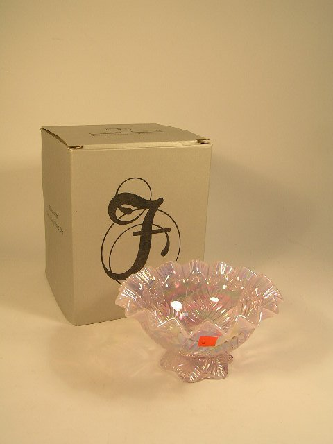 1012: FENTON MELLON BASKET - PINK ERADESCENT GLASS