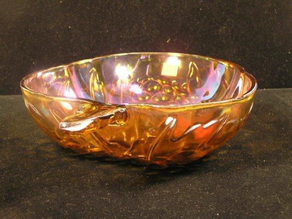 1017: CARNIVAL STYLE GLASS BOWL W/ GRAPE MOTIF - 2