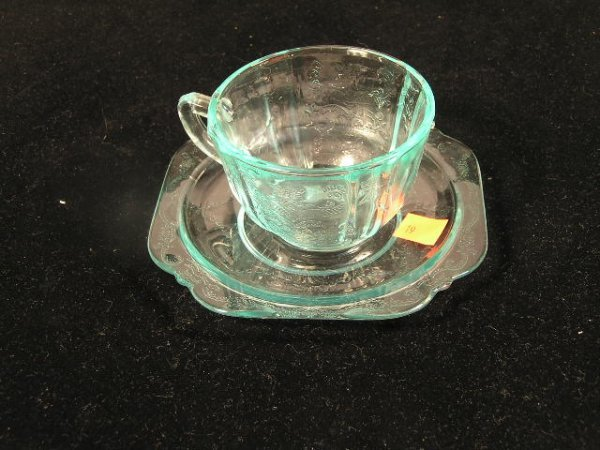 1019: DEPRESSION GLASS CUP & SUACER - LIGHT BLUE