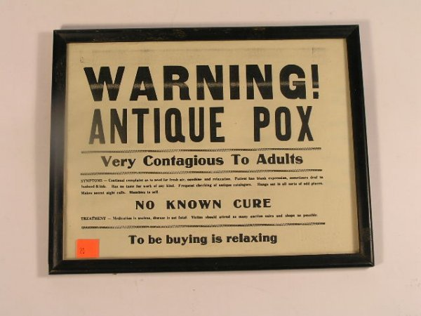 1020: HUMOROUS - ANTIQUE POX WARNING SIGN