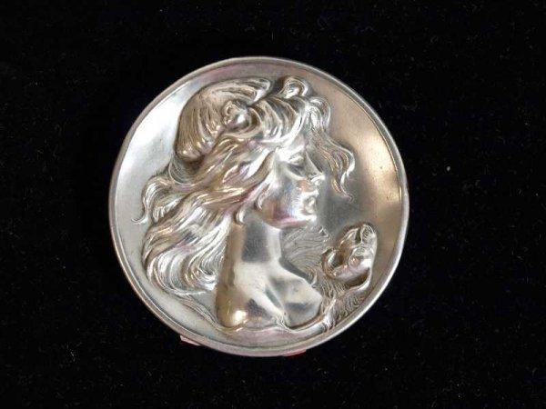 2009: STERLING ART NOUVEAU FIGURAL BROACH