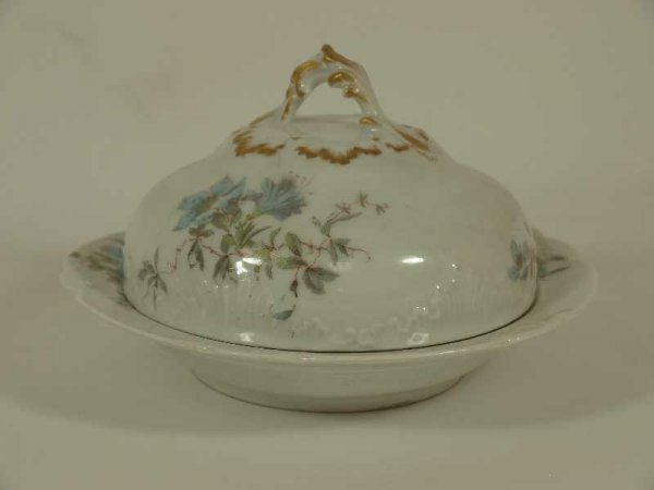 2013: ANTIQUE HAVILAND LIMOGES COVERED BUTTER WITH TRAY