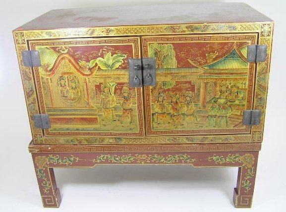 2: 19TH CENTURY ANTIQUE CHINESE LAQUER CBINET