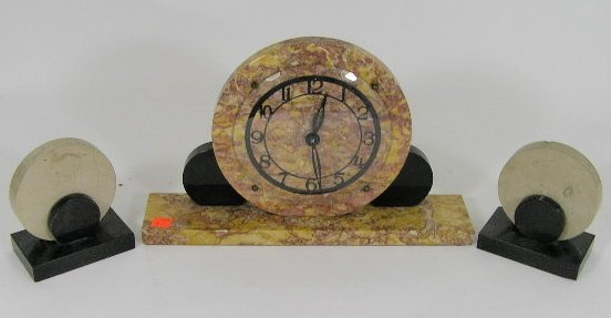 5: ART DECO STYLE MARBLE CLOCK & BOOK ENDS