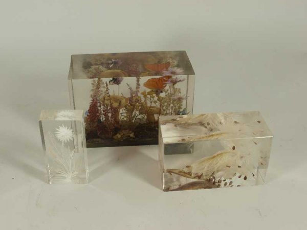 12: LOT 3 MID CENTURY MODERN LUCITE PAPERWEIGHTS