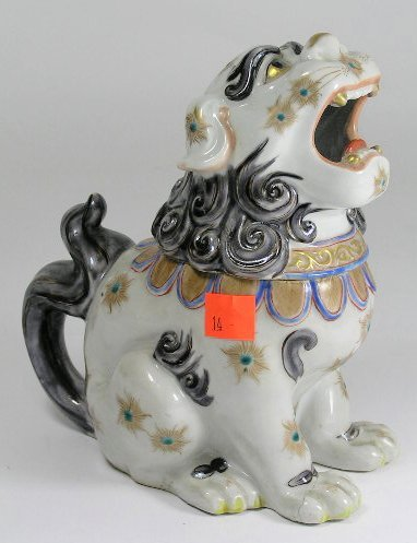 14: ANTIQUE CHINESE PORCELAIN FOO DOG C. 1920