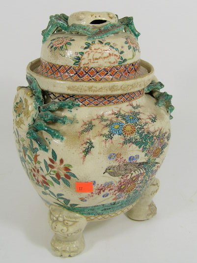 17: ANTIQUE CHINESE CRAB APOTHECARY JAR WITH LID