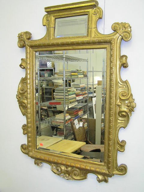48: VERY FINE ANTIQUE FRENCH CARVED GILT MIRROR