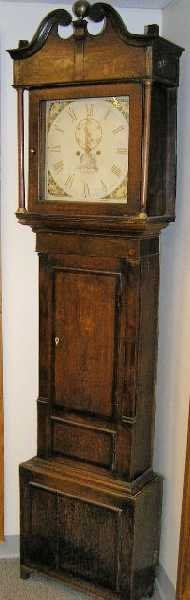 1: 18TH CENTURY ELGLISH OAK TALL CASE CLOCK