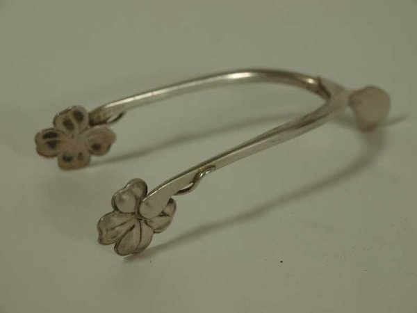 8: EDWARDIAN STERLING WISHBONE SHAMROCK SUGAR TONGS