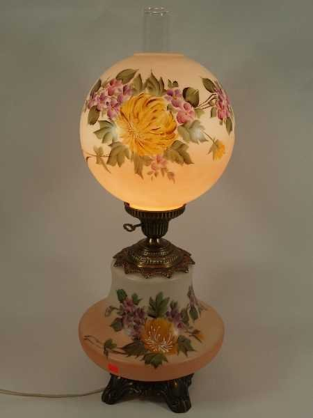 24: VINTAGE GONE WITH THE WIND LAMP - HANDPAINTED