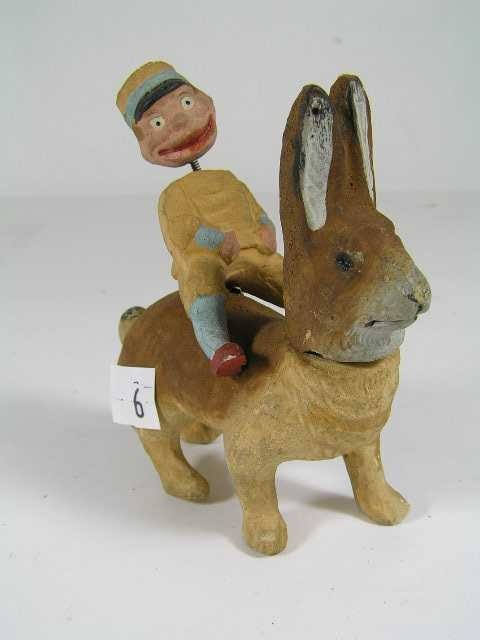 6: Antique Easter Collectible - Bisque German Bunny wit