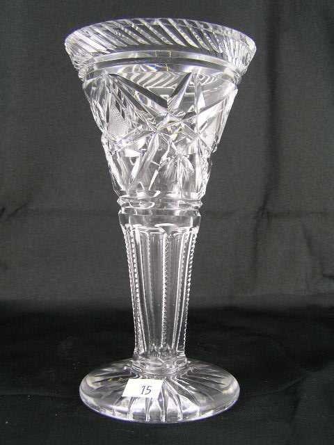 15: American Brillant Cut Crystal Vase