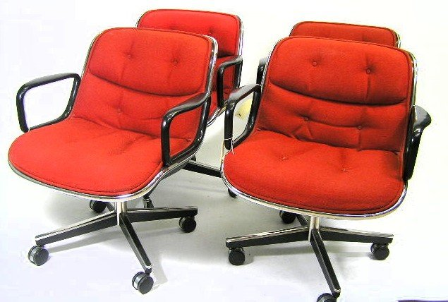 9: SET 4 - KNOLL EAMES ROLLING SHELL CHAIRS