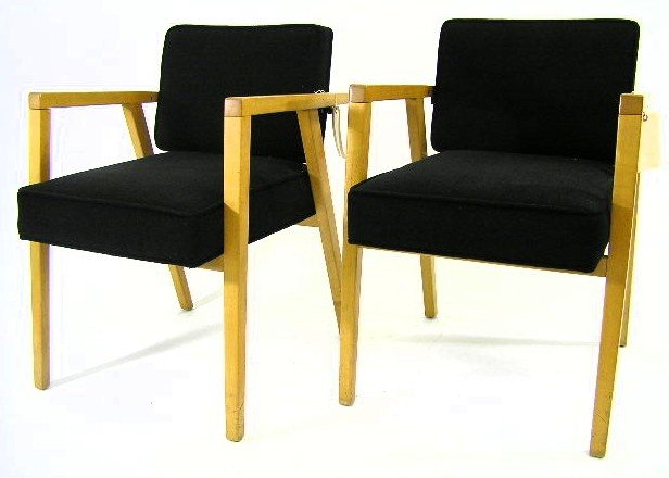 24: PAIR - FRANCO ALBINI - BLOND ARM CHAIRS