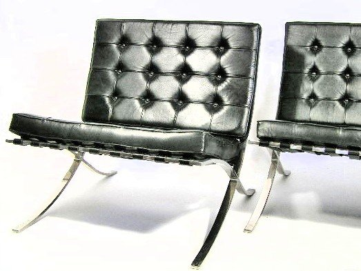 100: PAIR - VINTAGE BARCELONA CHAIRS - KNOLL - 2