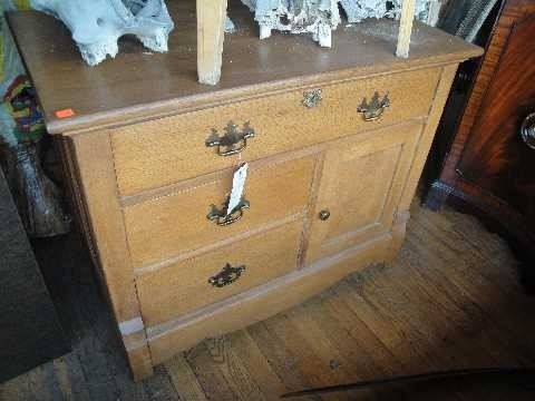 8: Antique Oak Commode Chest of Drawers