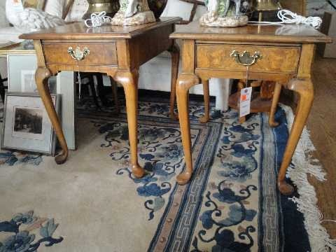 11: Pair Queen Anne Style End Tables