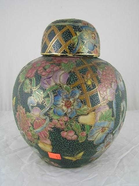 13: Contemporary Chinese Green Covered Ginger Jar