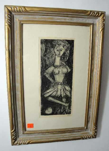 15: Vintage Etching - Dancer - Signed