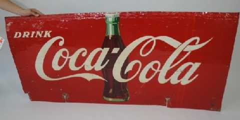 16: Vintage Coca-Cola Tin Highway Sign