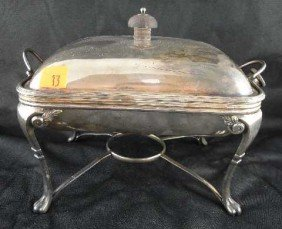 ENGLISH SILVERPLATE WARMING TRAY ON STAND