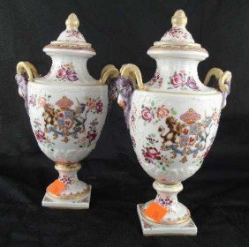 ANTIQUE FRENCH OLD PARIS PAIR RAMS HEAD URNS