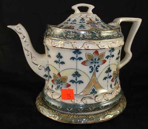 ANTIQUE MINTON IRONSTONE TEAPOT AND STAND