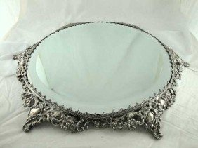 ANTIQUE ORNATE SILVER PLATE PLATEAU TRAY