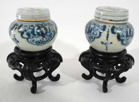EARLY CHINESE MINI PR GINGER JARS ON STANDS