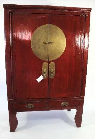 4: CHINESE RED LACQUER ARMOIRE WARDROBE