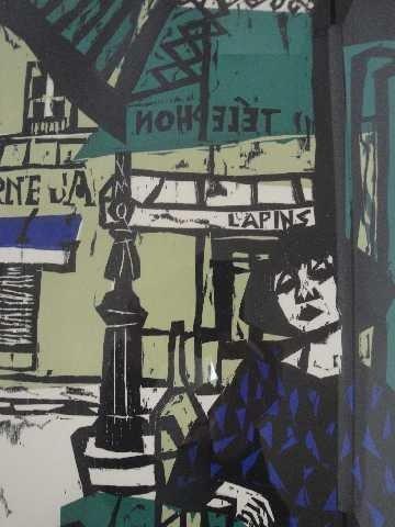 6: DIETHER KRESSEL WOODCUT- PARIS CAFE
