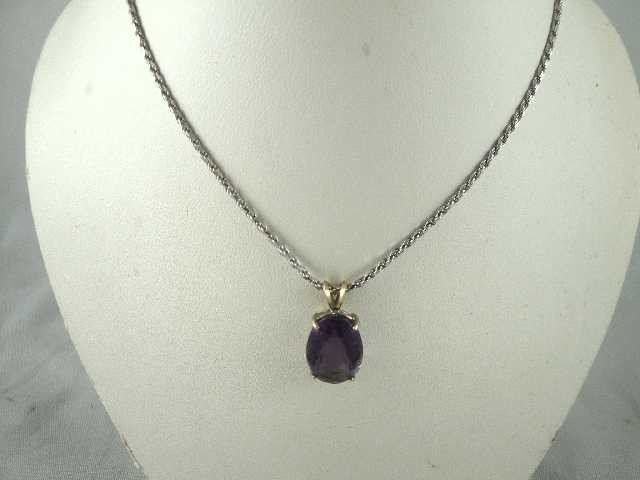 20: VTG JEWELRY- AMETHYST PENDENT NECKLACE