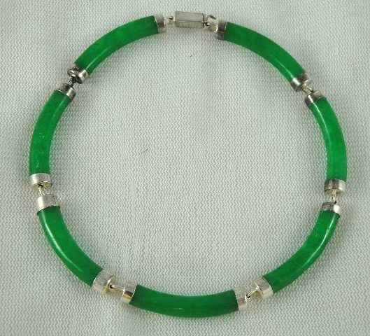 22: VTG JEWELRY- CHINESE GREEN JADE BRACELET STERLING H