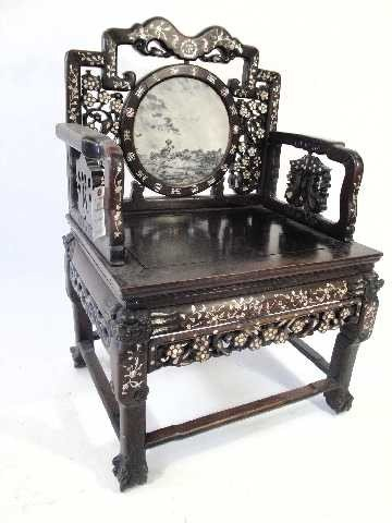 107: ANTIQUE CHINESE THRONE ROSEWOOD CARVED CHAIR W/MAR