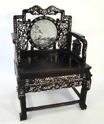 107: ANTIQUE CHINESE THRONE ROSEWOOD CARVED CHAIR W/MAR - 2