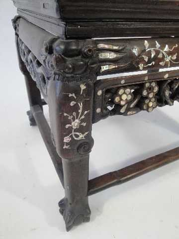 107: ANTIQUE CHINESE THRONE ROSEWOOD CARVED CHAIR W/MAR - 3