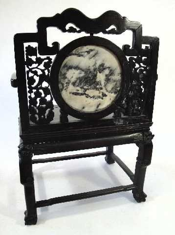 107: ANTIQUE CHINESE THRONE ROSEWOOD CARVED CHAIR W/MAR - 5