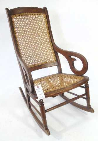 - 178: ANTIQUE CANE ROCKING CHAIR