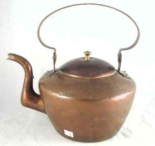 2: ANTIQUE EARLY AMERICAN COPPER TEA KETTLE
