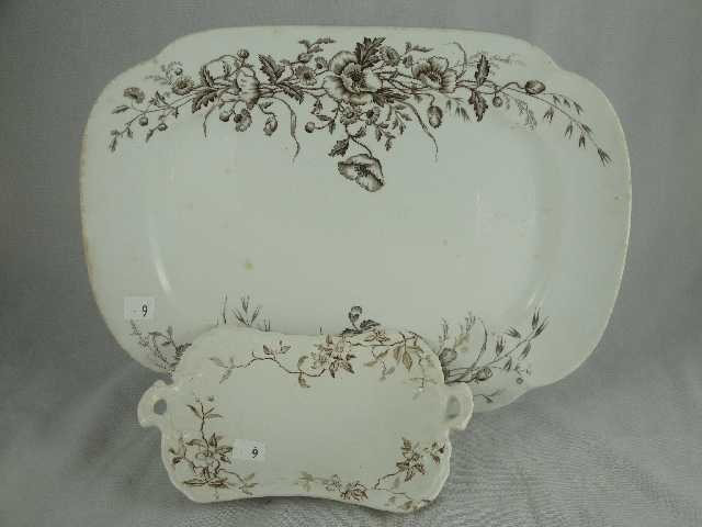 9: LOT OF 2 ANTIQUE BROWN TRANSFER - PLATTERS