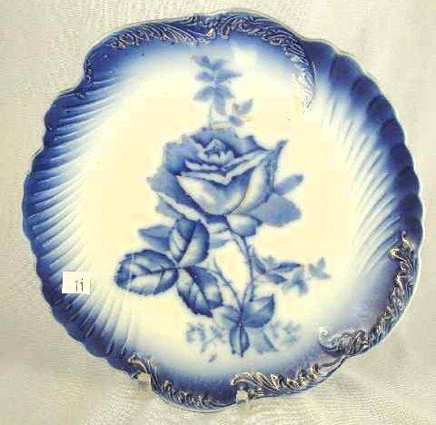 11: ANTIQUE LA FRANCAIS FLOW BLUE PLATE