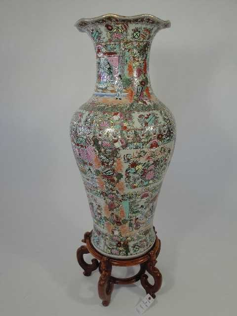 20: MAMMOTH CHINESE EXPORT FLAMILE ROSE VASE ON STAND