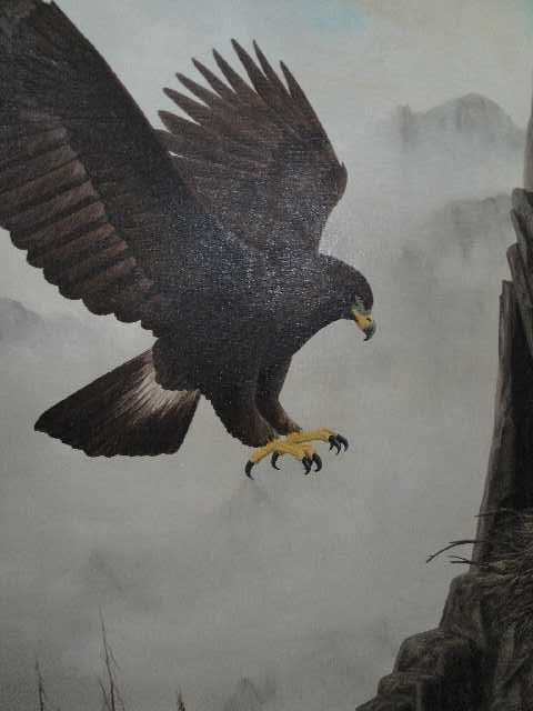 152: WESTERN AMERICANA EAGLE - OIL ON CANVAS PAINTING